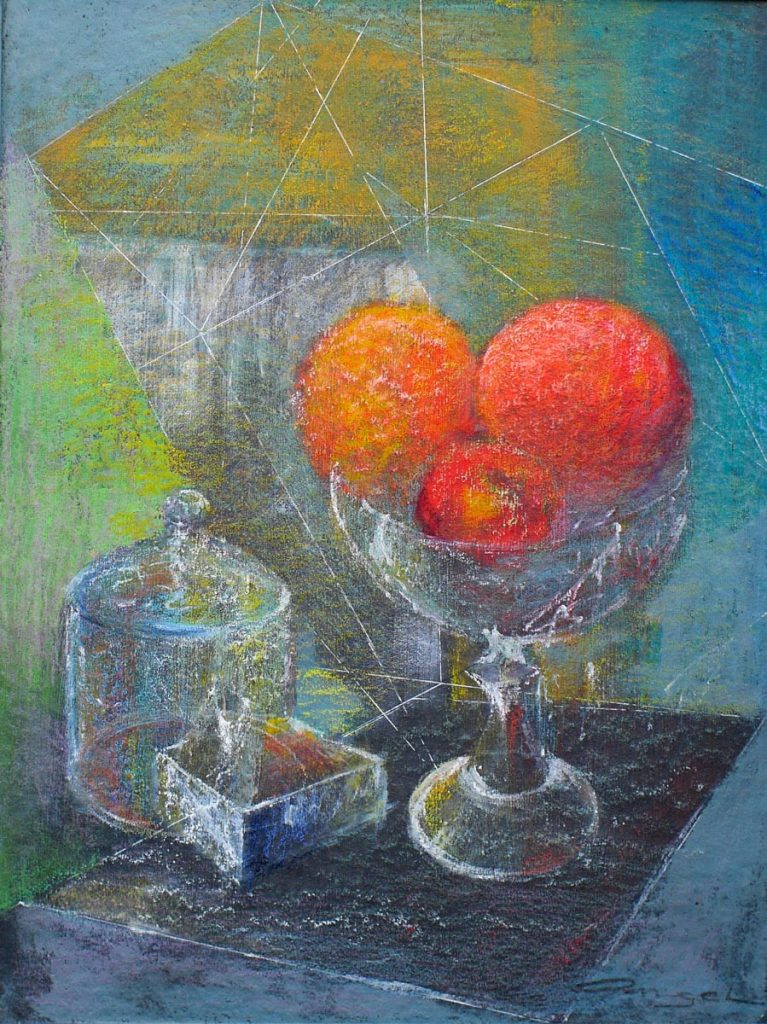 Still life with turkish delight - 46cmx56cm - pastel on cork
